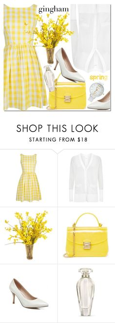 """""""Rosegal"""" by mada-malureanu ❤ liked on Polyvore featuring DKNY, Furla, Victoria's Secret, dress, gingham and rosegal"""