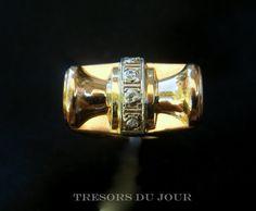 Antique RETRO DIAMOND and 18kt Rose Gold RING French c. 1945;  by TresorsDuJour, $1500.00
