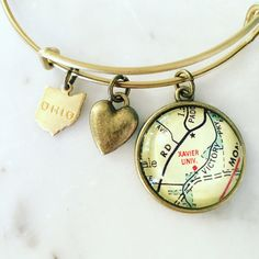 Xavier University Map Charm Bangle Bracelet by DaisyMaeDesignsShop Bangle Bracelets With Charms, Bangles, Easy Gifts, Great Gifts, Xavier University, College Graduation Gifts, Hard Work And Dedication, Custom Map, Organza Bags