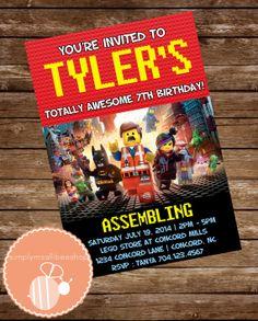 Request custom orders : simplymsallibeeshop@gmail.com EVERYTHING IS AWESOMEEEE!  ~ aHAHAH Awesome Lego Movie Birthday Invitation