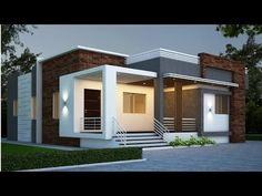 cute modern house design single floor 1400 sqft house elevation and plan Modern Exterior House Designs, Best Modern House Design, Modern House Facades, Modern Bungalow House Design, Modern Bungalow Exterior, Simple House Design, Modern Design, House Outside Design, House Front Design