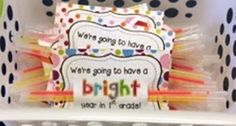 """Teach Junkie: 31 creative back to school treats for students {printables} - Glowstick """"Going to have a bright year"""" gift tags"""