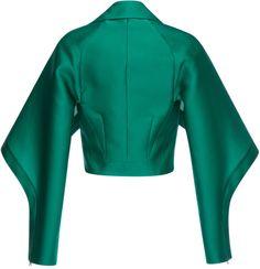 Antonio Berardi Emerald Silk Scuba Short Jacket in Green (Emerald Green) | Lyst