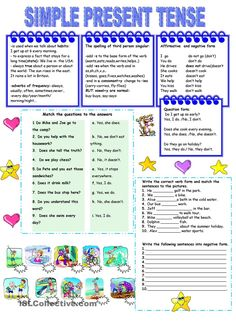 Present simple tense - worksheet - kindergarten level