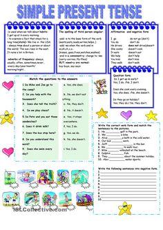 Present simple tense - worksheet - kindergarten level