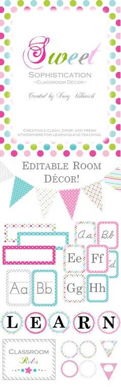 This classroom decor kit is a complement to my ULTIMATE Teaching Survival Binder: Sweet Sophistication Theme!  It's filled with editable pennants, nameplates, and labels and even comes with word wall headers, alphabet lines, individual letters for Daily 5 and Cafe, editable classroom rules, and more! $