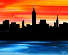 Modern New York City print, NYC Empire State giclee wall art print by francine b… Nyc Skyline, City Skyline Art, City Art, Cute Canvas Paintings, Easy Canvas Painting, Artwork Paintings, New York Painting, City Painting, Oil Pastel Drawings