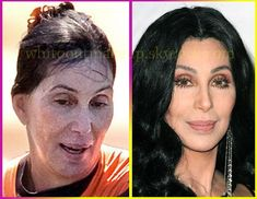 Cher the Power of Makeup Power Of Makeup, Beauty Makeup, Hair Beauty, Celebrities Before And After, Celebrities Then And Now, Celebs Without Makeup, With And Without Makeup, Makeup Before And After, Celebrity Plastic Surgery