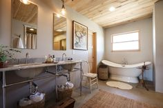 French inspired bathroom decor with natural materials.