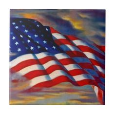 Memorial Day Poppies, American Flag Waving, Military Gifts, Old Glory, Usa Flag, Office Gifts, Keepsake Boxes, White Ceramics, Tile