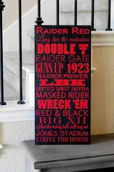 11in. by 24in. Texas Tech wood sign by SadieJayDesigns on Etsy, $37.00, www.SadieJay.com