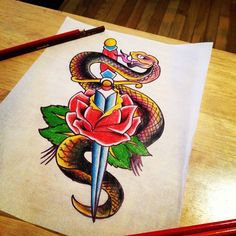 Sailor Jerry inspired Snake and Dagger and rose tattoo artwork. Contact mailto:sales@inte... to commission any custom pieces.