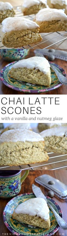 Chai Latte Scones ~ chai, the mixed spice tea from India, has the most wonderful spices in it, but I'm not much of a tea drinker, so I made my scones with coffee instead. by joni No Bake Desserts, Just Desserts, Delicious Desserts, Dessert Recipes, Yummy Food, Breakfast Scones, Breakfast Time, Fall Recipes, Sweet Recipes
