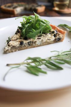 Caramelized Onion & Portobello Tart with Thyme Rosemary Cream (vegan)