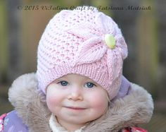 Knitting Pattern - Cherry Flower Hat (All sizes)