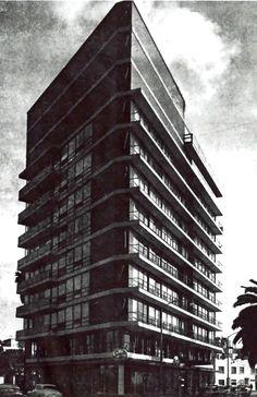 Edificio de apartamentos, Nuevo León 160, entre Campeche y Citlaltépetl, Hipódromo, Cuauhtémoc, México DF 1955 Arq Luis J. de la Mora - Aparment buildng, Nuevo Leon 160, between Campeche and Citlaltepetl, Condesa, Cuauhtemoc, Mexico DF 1955
