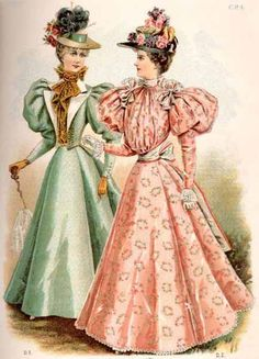 This image gives an example as to what a typical 1890s daytime dress looked like. It was a rather elaborate dress to be worn on a daily basis.