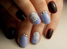 Contrast nails, Evening nails, Evening short nails, Fall nails ideas, Fall short nails, Rose nail art, Two color nails, Two-color short nails