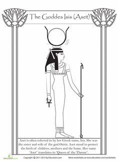 Worksheets: Egyptian Goddess Isis