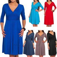 Maggie Tang Fashion High Waist 3/4 Sleeve Deep V-Neck Swing Solid Evening Dress