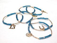 Pulseras semanario, 7 pulseras con cristal checo 4mm, color azul, $120, Precio especial a mayoristas.