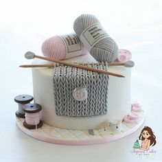 Carefully hand crafted custom cakes & cake classes by award winning cake Artist. Crazy Cakes, Fancy Cakes, Cute Cakes, Birthday Cake For Mum, 60th Birthday Cakes, Elegant Birthday Cakes, Beautiful Cakes, Amazing Cakes, Knitting Cake