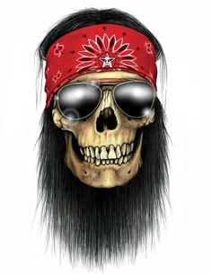 """""""Rock Skull"""" Sticker by Heavy Metal, Badass Skulls, Native American Tattoos, Totenkopf Tattoos, Skull Pictures, Skull Artwork, Skull Island, Skull Wallpaper, King Art"""
