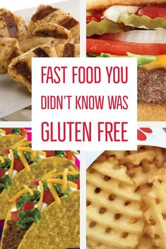 A guide to help you find options that are gluten free when you have to (or want to) get fast food. Find tasty gluten free fast food options even when eating at popular fast food chains like McDonald's, Wendy's, Dunkin Donuts, Taco Bell, and more. Dairy Free Fast Food, Gluten Free Menu, Dairy Free Recipes, Gluten Free Junk Food, Healthy Gluten Free Snacks, Gluten Free Donuts, Gf Recipes, Free Food, Healthy Food