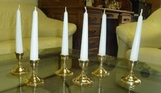 Biedermann & Sons Candlestick Holders, Set of 6, Brass Finish
