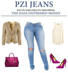 Shop the Julia Distressed Skinny Jean available in sizes 4-18; R and L inseams. Visit PZIJEANS.com. #pzijeans #spring #fashion #denim #women