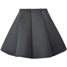Choies Black Structured Pleat Mini Skater Skirt (38 BRL) ❤ liked on Polyvore featuring skirts, mini skirts, bottoms, black, pleated circle skirt, short pleated skirt, skater skirts, pleated miniskirt and flared mini skirt