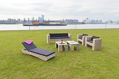 Loungebed, Blokbank, Loungetafels en Blokstoelen!