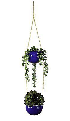 Garden Hanging Flower Pot Ceramic Planter 2 pc Set Small Plant Indoor Outdoor  | eBay