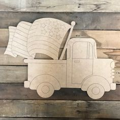 Old Style Truck with American Flag , Unfinished Craft, Paint by Line Wood Craft Patterns, Wooden Pattern, Wooden Cutouts, Wooden Shapes, Wooden Door Hangers, Wooden Doors, Truck Crafts, Classic Doors, Wooden Train
