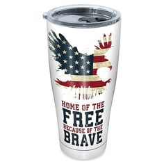 Enjoy your favorite beverage in this Home of the Free Stainless Steel Tumbler from Tervis. This durable drinkware has double-wall construction and insulation that keeps hot drinks hot and cold drinks cold. Kids Tumbler, Coffee Tumbler, Tumbler Cups, Diy Tumblers, Custom Tumblers, Glitter Tumblers, Custom Yeti, Christmas Tumblers, Custom Cups