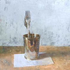 """Jon Redmond, Two Forks, 10"""" x 10,"""" oil on board."""