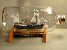 """The ship on bottle model of """"Endurance"""", shown at right, won First Place in the Miniature Division and Best in Competition Awards. Description from mosaictelecom.com. I searched for this on bing.com/images"""