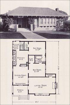 1922 Hip-roofed Cottage-style Bungalow House Plans by E. W. Stillwell & Co. - No. L-116 - Casement windows