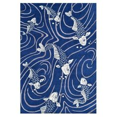 The Rug Market Koi Pond Blue Acrylic Area Rug (8'x10') ((8X10, Blue, White, Grey)), Size 8' x 10'