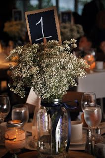 Baby's breath mason jars centrepiece - w/o the number and with a rose ribbon Wedding To Do List, Fall Wedding, Our Wedding, Wedding Stuff, Wedding Ideas, Mason Jar Centerpieces, Mason Jars, Colorado Wedding Venues, Wedding Decorations