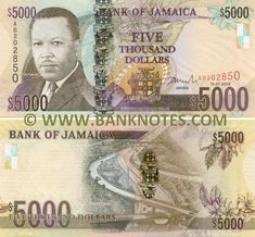 Jamaica 5000 Dollars 2009 Front Portrait Of Rt Honourable Hugh Lawson Shearer On