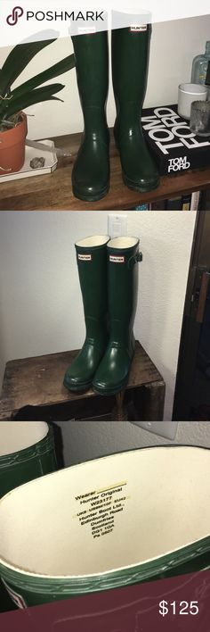 6a091275f07 Selling this Original Tall Classic Hunter Rain Boots Green on Poshmark! My  username is  dbsobsessed.
