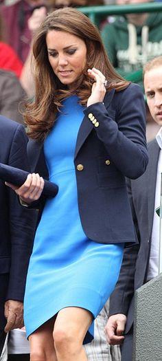 kate middleton - smythe navy blazer & blue stella mccartney dress.