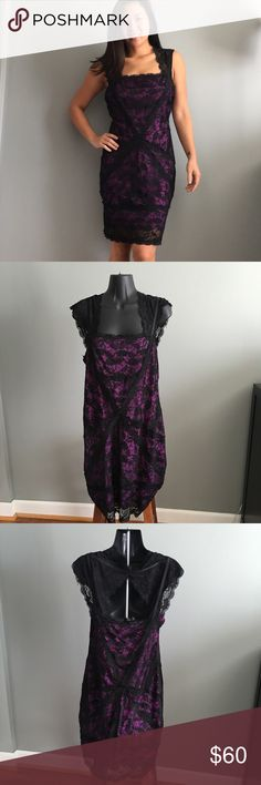 Spotted while shopping on Poshmark: Betsy & Adam Purple/Black Lace Dress 12…