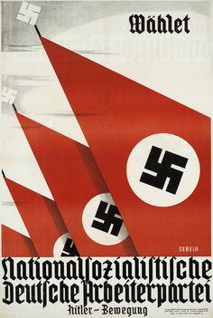 """""""Wählet Nationalsozialistische Deutsche Arbeiterpartei - Hitler-Bewegung"""" Wahlplakat der NSDAP Österreich zur Nationalratswahl 1930. Entwurf Anton Sebela, Österreich 1930. Druck Pauline Strohal, Wien."""
