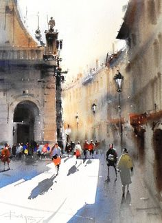 Corneliu Dragan-Targoviste | urban landscape watercolour-23