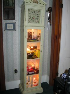 We made clocks and turned them into doll houses.