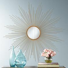 """Kanopolis Matte Gold 41"""" Round Sunburst Wall Mirror"""