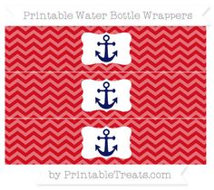 Lava Red Chevron  Nautical Water Bottle Wrappers