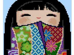 Cute Kokeshi Doll HIROKO 2 Cross Stitch Pdf Pattern